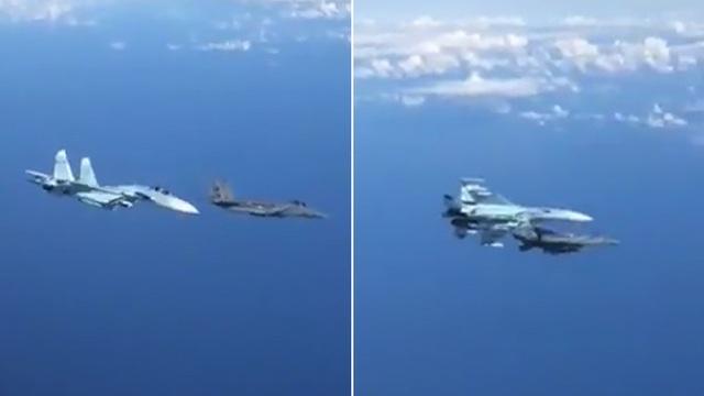 Khoảnh khắc Su-27 Nga tạt đầu, chặn máy bay F-15  - 1