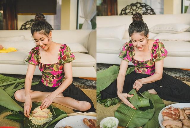 Hoa hậu Hà Kiều Anh ăn mặc giản dị cùng các con gói bánh chưng ngày Tết - 5