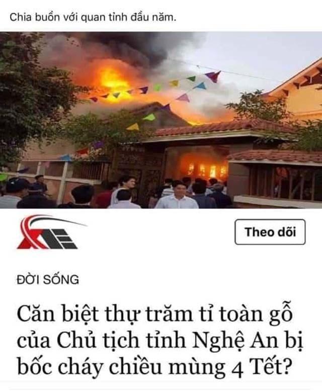 """Bác thông tin """"biệt thự trăm tỉ của chủ tịch tỉnh bốc cháy"""" - 2"""