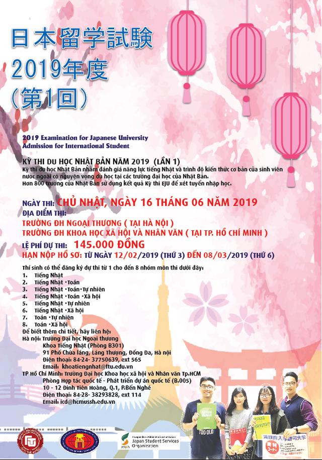 Thông tin về Kỳ thi Du học Nhật Bản (EJU) đợt 1 năm 2019 và học bổng của tổ chức JASSO - 2