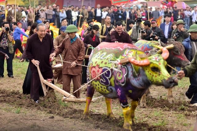 Phó Thủ tướng Chính phủ Trương Hòa Bình lội ruộng xuống đi cày trong Lễ hội Tịch Điền trên cánh đồng xã Đọi Sơn