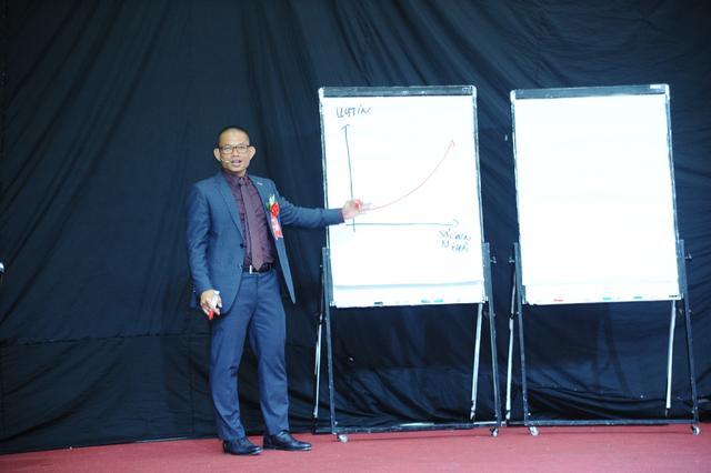 Diễn giả Phạm Thành Long tóm tắt lại những kiến thức trong khóa học