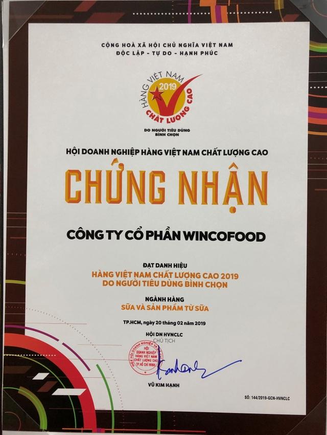 Wincofood  nhận danh hiệu Hàng Việt Nam chất lượng cao 2019 - 2