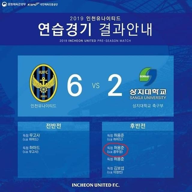 Công Phượng tiếp tục ra sân, có một pha kiến tạo thành bàn cho Incheon United