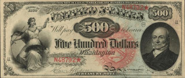 Tờ tiền giấy có mệnh giá 500 USD in chân dung của Tổng thống thứ 6 của Hoa Kỳ John Quincy Adams.
