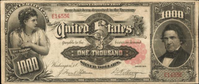 Tờ tiền nổi tiếng với mệnh giá 1.000 USD từ năm 1891 này được gọi là Tờ tiền Marcy do chân dung của William L. Marcy được in bên phải.