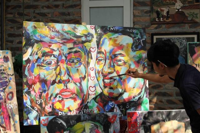 Chiêm ngưỡng tác phẩm hoạ sĩ Việt vẽ chân dung nhà lãnh đạo Mỹ - Triều Tiên - 2