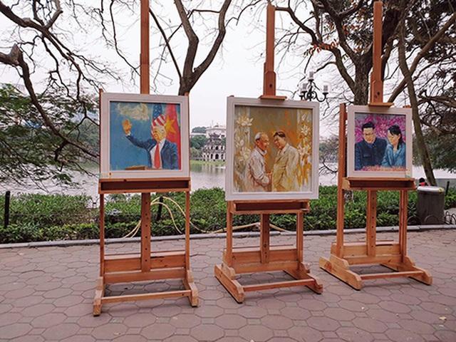 Chiêm ngưỡng tác phẩm hoạ sĩ Việt vẽ chân dung nhà lãnh đạo Mỹ - Triều Tiên - 1
