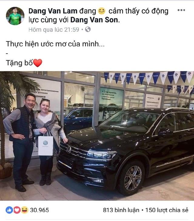 Thủ thành Đặng Văn Lâm thực hiện được mong ước tặng bố xe ôtô - 1