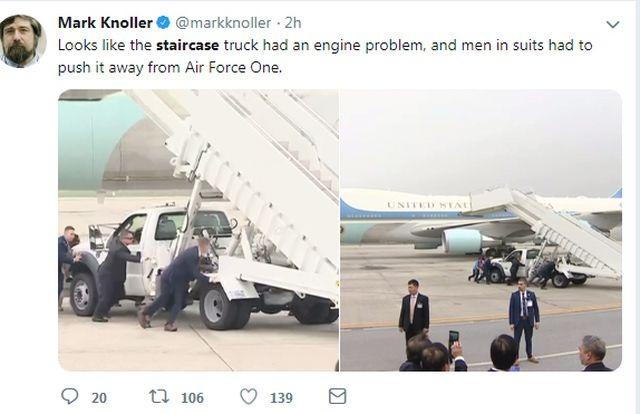 Xe thang chuyên cơ của Tổng thống Trump trục trặc tại sân bay - 2