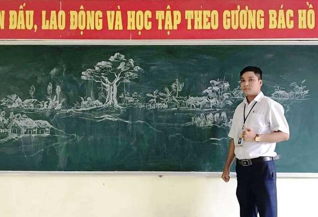 Thầy giáo 8X vẽ tranh bằng phấn trắng trên bảng đen - 2