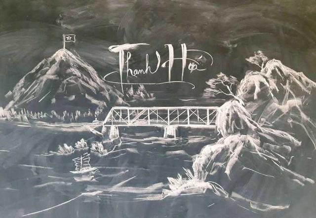 Thầy giáo 8X vẽ tranh bằng phấn trắng trên bảng đen - 6