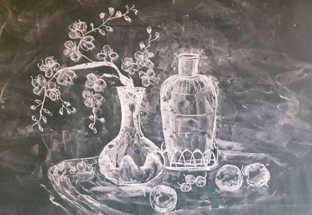 Thầy giáo 8X vẽ tranh bằng phấn trắng trên bảng đen - 7