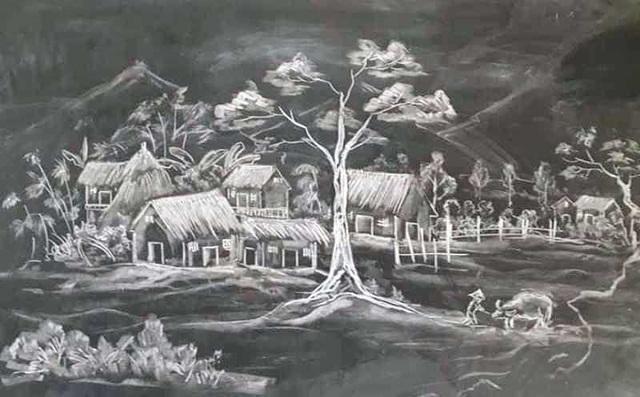 Thầy giáo 8X vẽ tranh bằng phấn trắng trên bảng đen - 5