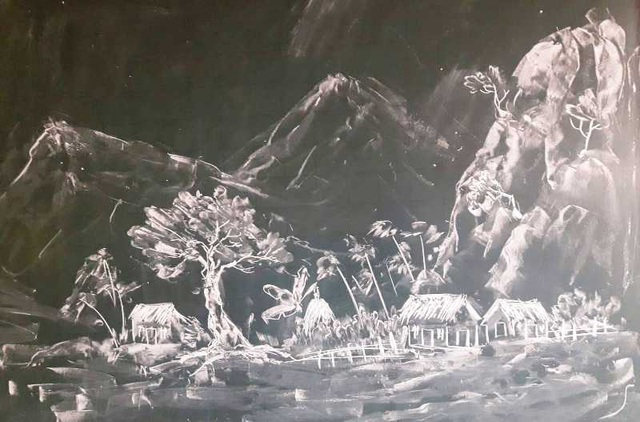 Thầy giáo 8X vẽ tranh bằng phấn trắng trên bảng đen - 4