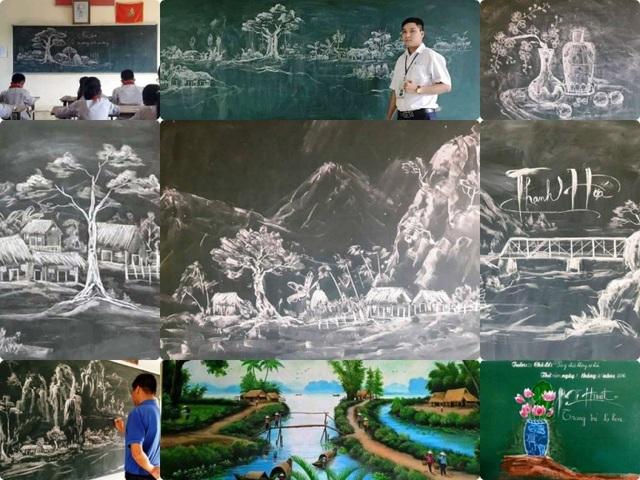 Thầy giáo 8X vẽ tranh bằng phấn trắng trên bảng đen - 1