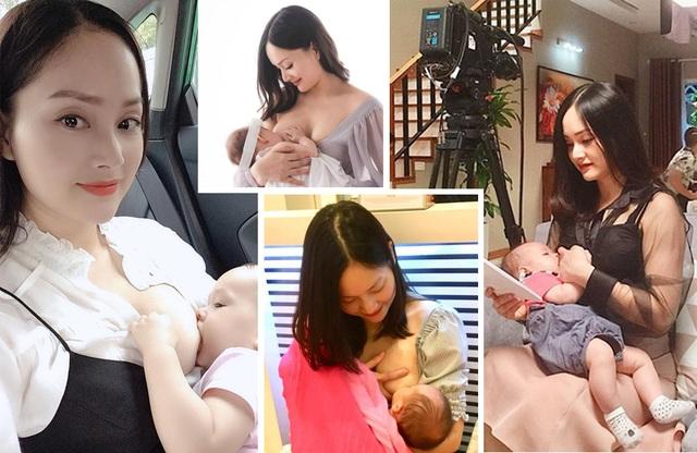 Khoảnh khắc đẹp của sao nữ Việt khi khoe ảnh... đang cho con bú - 1