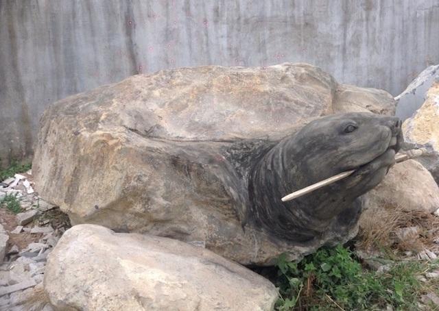 """Ảnh: Cận cảnh rùa đá """"Hồn thiêng đất Việt"""" nặng 20 tấn, 600 triệu không bán - 8"""