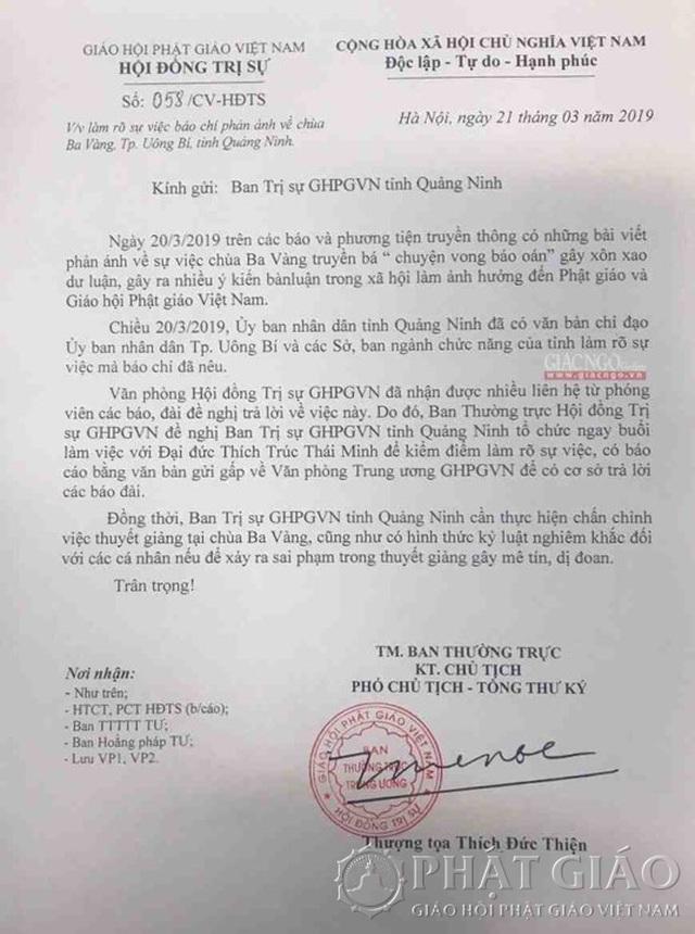 Sẽ kỷ luật nghiêm khắc vụ thỉnh vong báo oán tại chùa Ba Vàng - 3