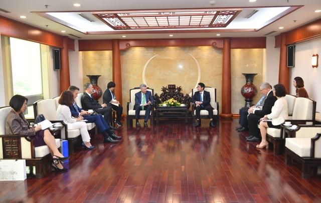 Ban Lãnh đạo Vietcombank tiếp và làm việc với đoàn lãnh đạo cấp cao Tổ chức thẻ quốc tế Visa - 2