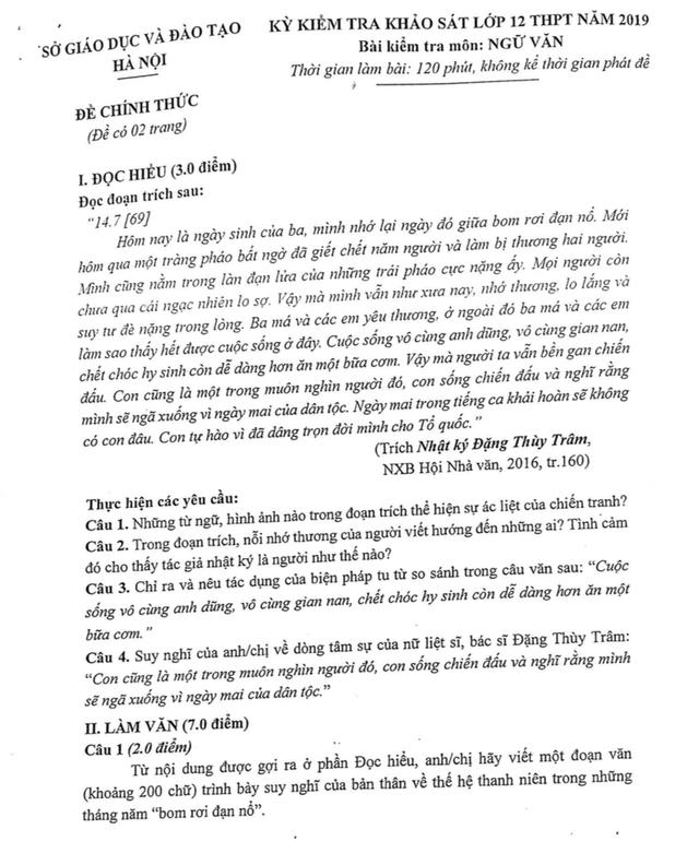 Hướng dẫn làm bài kiểm tra khảo sát môn Ngữ Văn lớp 12 của Hà Nội năm 2019 - 1
