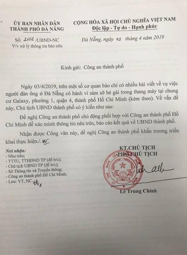 Đà Nẵng đề nghị Công an TPxác minh người sàm sỡ bé gái trong thang máy ở TPHCM - 1