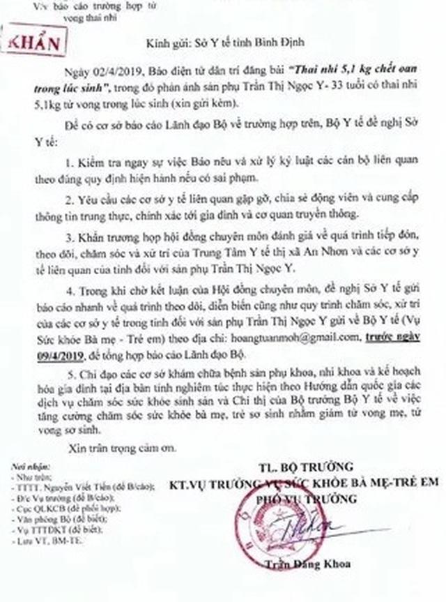 Thai nhi 5,1kg tử vong trong lúc sinh, Bộ Y tế yêu cầu xác minh - 1