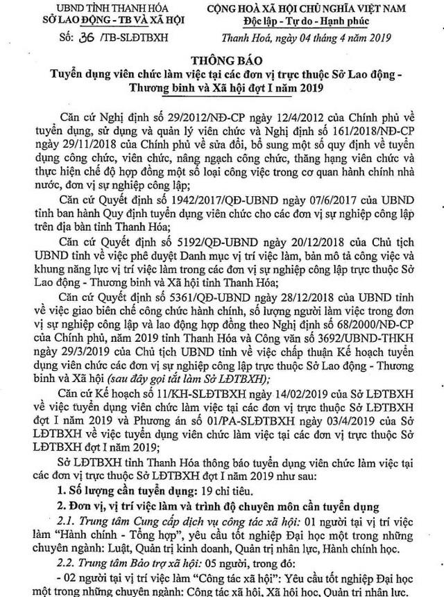 Thanh Hoá: Sở LĐ-TBXH tuyển dụng hàng loạt viên chức - 1