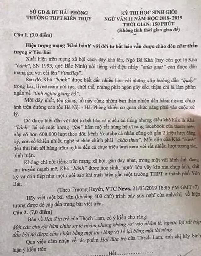 """Băn khoăn đề Văn dài cả trang viết về """"hành trình"""" của Khá """"bảnh"""" - 3"""