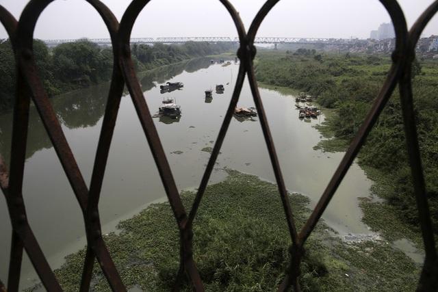Khúc sông thối dưới cầu Long Biên ô nhiễm nghiêm trọng - 11