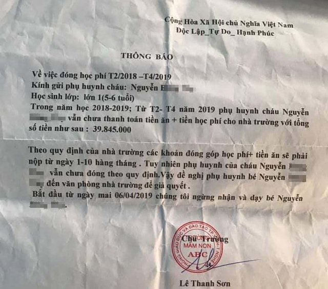 Bé 5 tuổi bị trường thông báo ngừng nhận vì thiếu tiền đóng học 14 tháng? - 2
