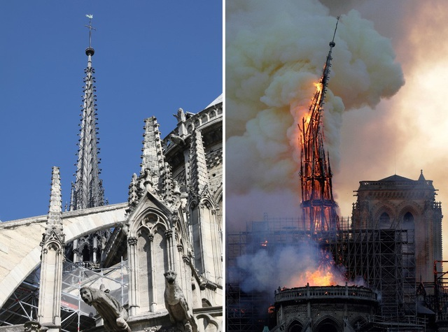 Tháp chuông Nhà thờ Đức Bà Paris đổ sập trong vụ cháy khủng khiếp - 5