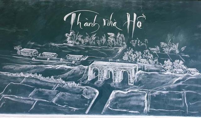 Thầy giáo trẻ vẽ danh thắng bằng phấn trắng trên bảng đen - 4