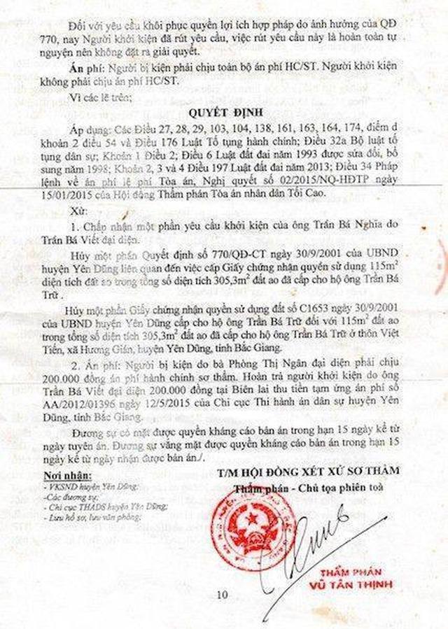 """Toà án tỉnh Bắc Giang còn """"ngâm"""" vụ dân kiện quan đến bao giờ? - 2"""