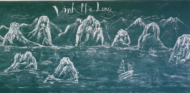 Thầy giáo trẻ vẽ danh thắng bằng phấn trắng trên bảng đen - 5