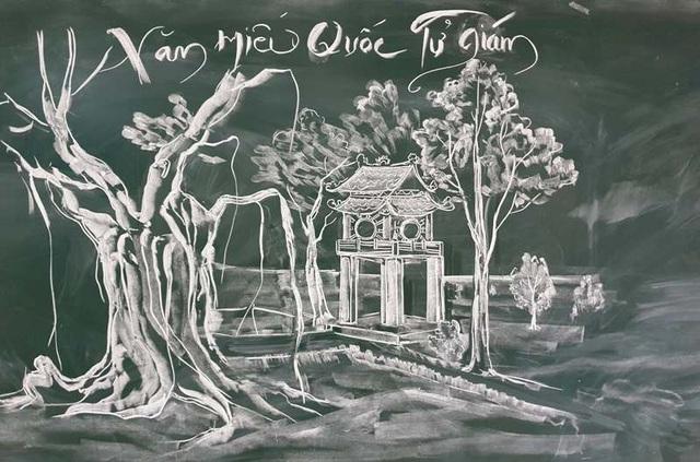 Thầy giáo trẻ vẽ danh thắng bằng phấn trắng trên bảng đen - 1