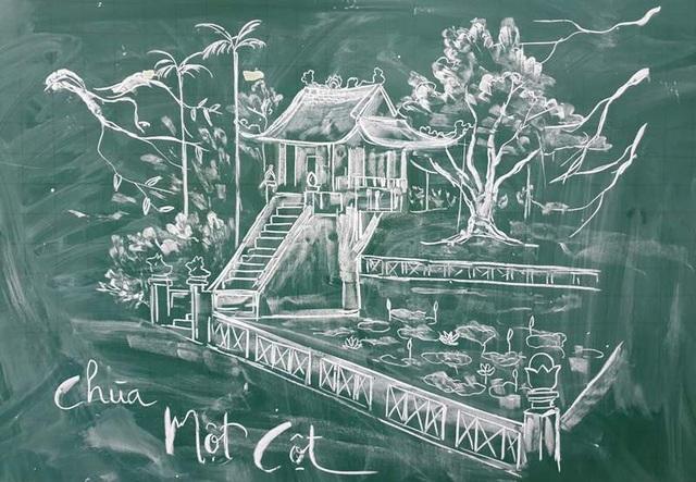 Thầy giáo trẻ vẽ danh thắng bằng phấn trắng trên bảng đen - 3