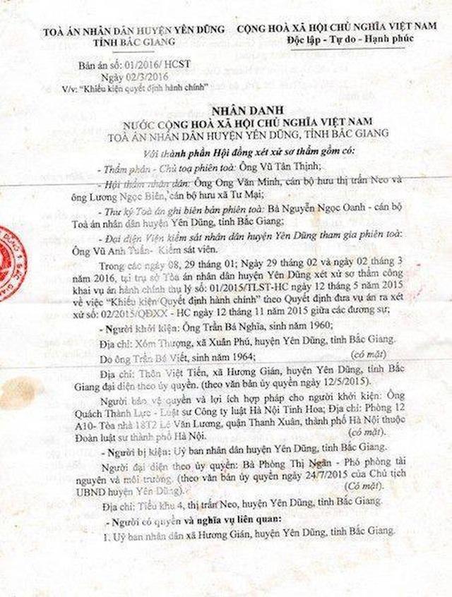 """Toà án tỉnh Bắc Giang còn """"ngâm"""" vụ dân kiện quan đến bao giờ? - 1"""