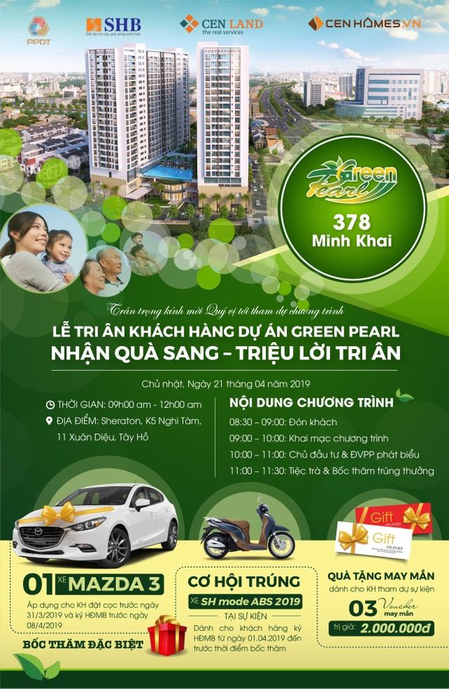 """""""Nhận quà sang – triệu lời tri ân"""" dành tới khách hàng dự án Green Pearl 378 Minh Khai - 1"""
