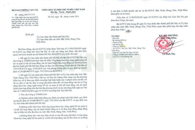 Bộ GTVT đề nghị Grab không được hoạt động ở 3 tỉnh gần Hà Nội - 1