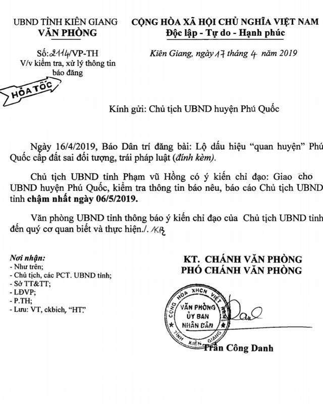 Chủ tịch tỉnh Kiên Giang ra công văn hoả tốc sau bài báo chống tiêu cực của Dân trí! - 1