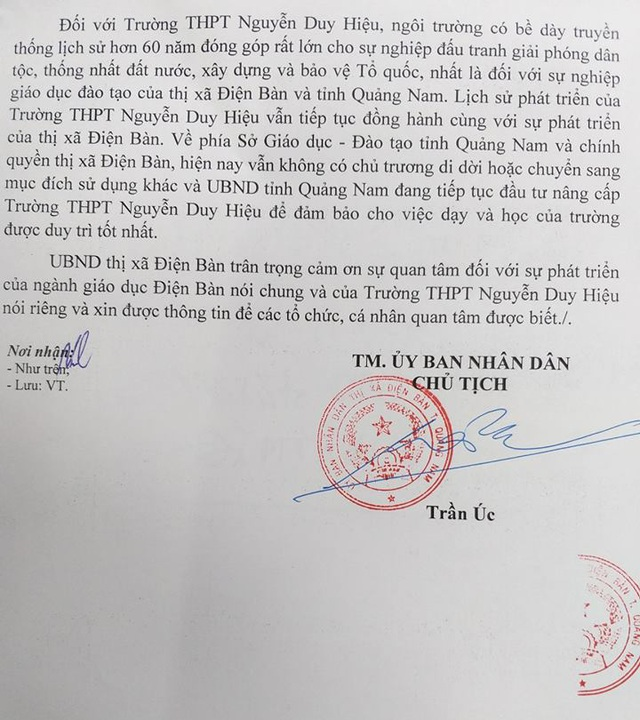 Quảng Nam: Không có chủ trương di dời Trường THPT Nguyễn Duy Hiệu - 2