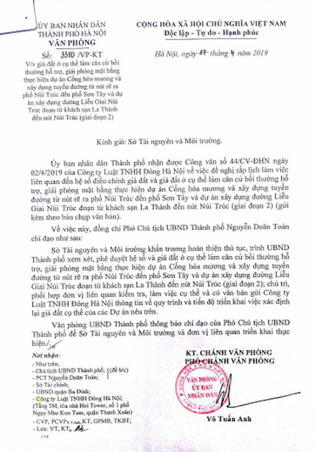TP Hà Nội đốc thúc xác định lại giá đất để bồi thường dự án làm đường Liễu Giai - Núi Trúc - 4