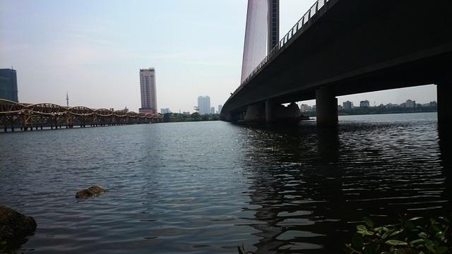 Xuất hiện dòng nước đen ngòm,bốc mùi hôi thối trên sông Hàn - 1
