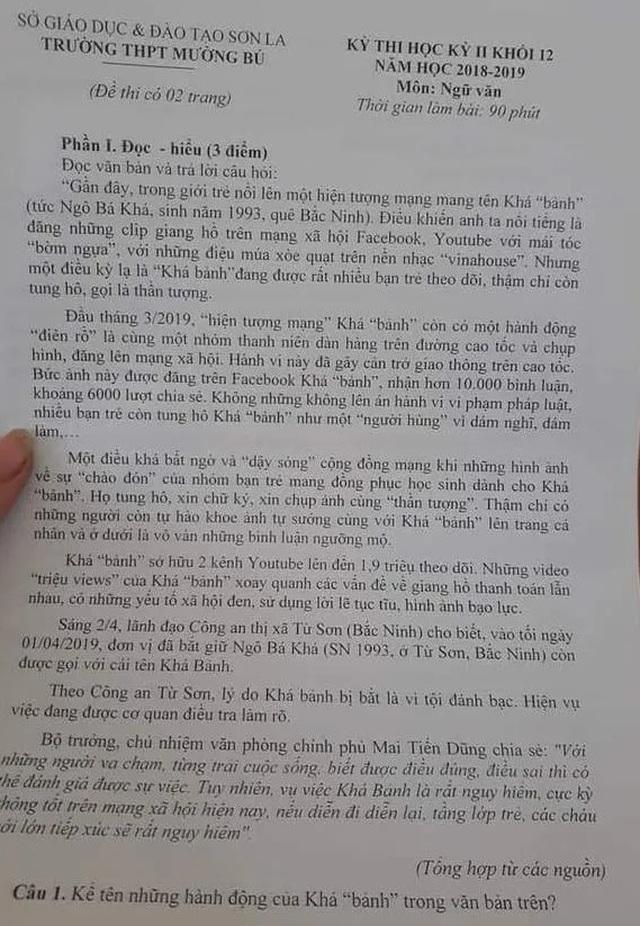 """Băn khoăn đề Văn dài cả trang viết về """"hành trình"""" của Khá """"bảnh"""" - 2"""