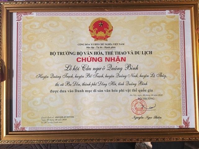 Trao Bằng Di sản Văn hóa phi vật thể Quốc gia cho Lễ hội Cầu Ngư tại Quảng Bình - 2