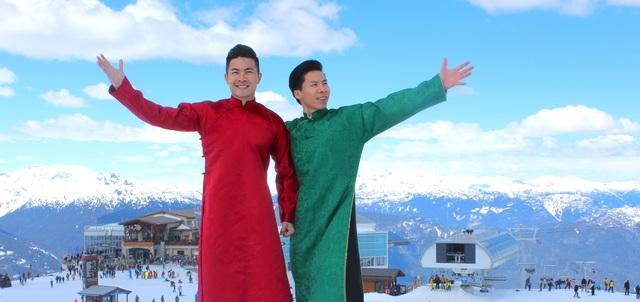 Quốc Cơ - Quốc Nghiệp mình trần diễn xiếc trên núi tuyết ở Canada - 1