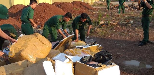 Tiêu hủy hơn 1 tấn thịt gia cầm nhập lậu ở khu vực biên giới - 1