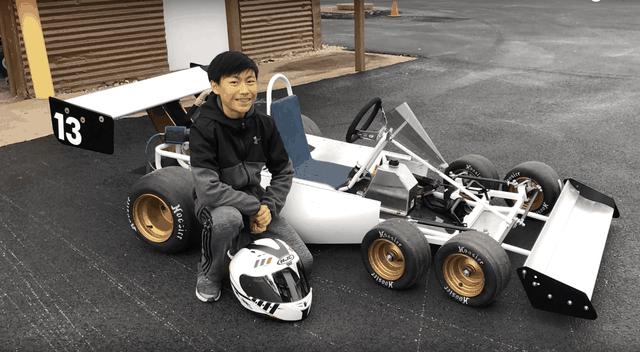 Cậu bé 13 tuổi chế tạo thành công xe đua go-kart 6 bánh - 1