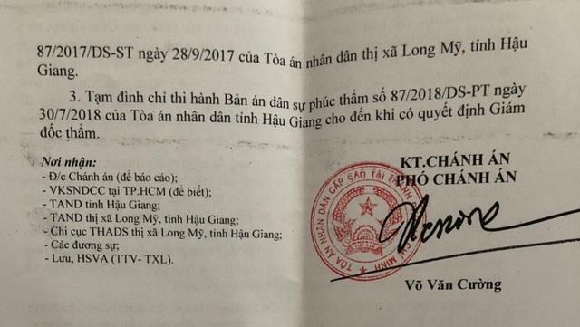 TAND cấp cao quyết định tạm đình chỉ thi hành bản án kỳ quặc tại Hậu Giang - 2